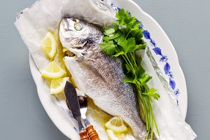 grilled fish, fresh parsley