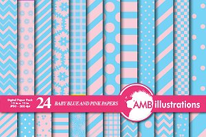 Blue & Pink Digital Papers AMB-539