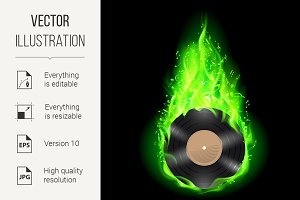 Vinyl disc in green fire.