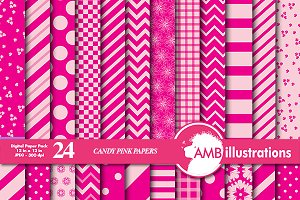 Candy Pink Digital Papers AMB-541
