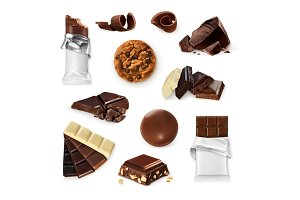 Chocolate, vector icon set