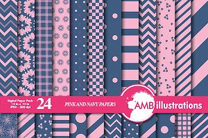 Navy and Pink Digital Papers AMB-543