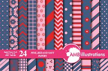 Navy, Red & Pink Papers AMB-544