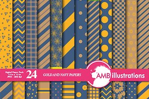 Navy, Gold & Yellow Papers AMB-545