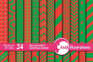 Christmas Green & Red Papers AMB-549