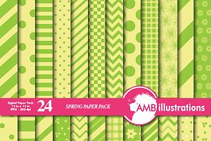 Green & Yellow Digital Paper AMB-550