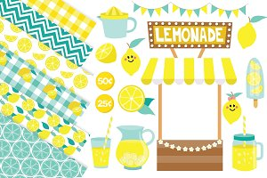 Lemonade Clipart and Digital Paper