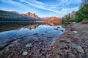 Sunrise on a mountain lake