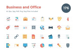 176 Flat Business and Office Icons