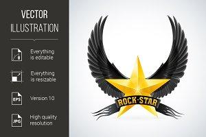 Golden star with Rock Star banner an