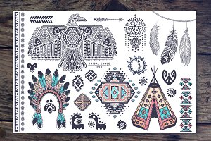 Bohemian style American Indian icons