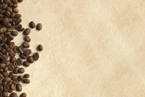 Coffee beans background. Copy space
