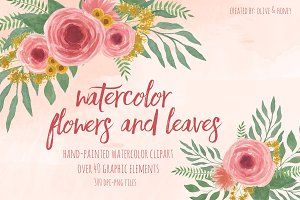 Watercolor Flowers & Leaves