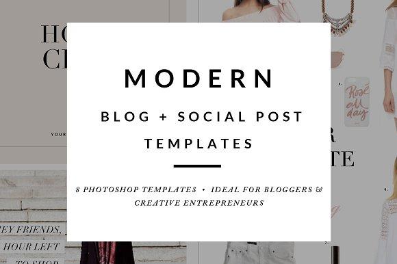 Blog post social media templates web elements creative market blog post social media templates web elements maxwellsz