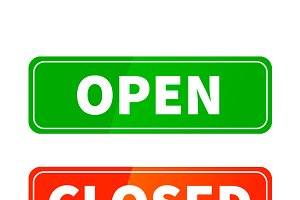 Open and closed glossy signs