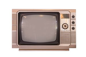 vintage tv or television on white