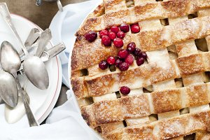 Homemade apple and cranberry pie