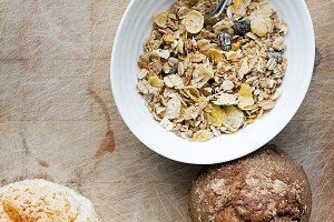 Bowl of muesli with granary bread