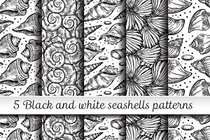 5 black and white seashells patterns