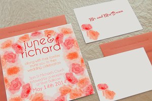 Watercolor Flowers & Invitation