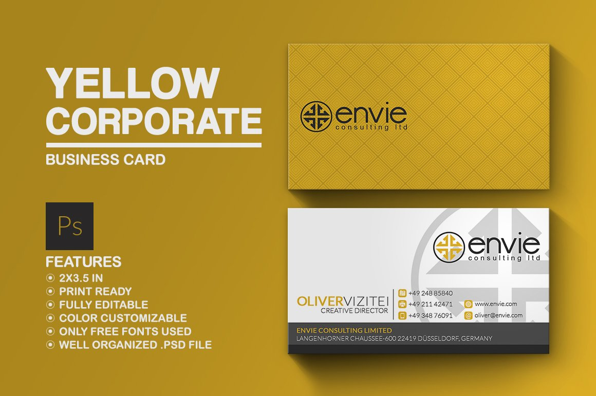 Yellow Corporate Business Card ~ Business Card Templates ...