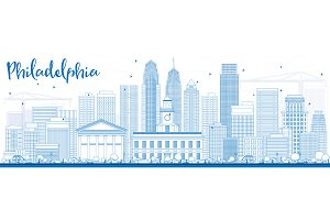 Outline Philadelphia Skyline