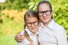 Two happy schoolgirls.