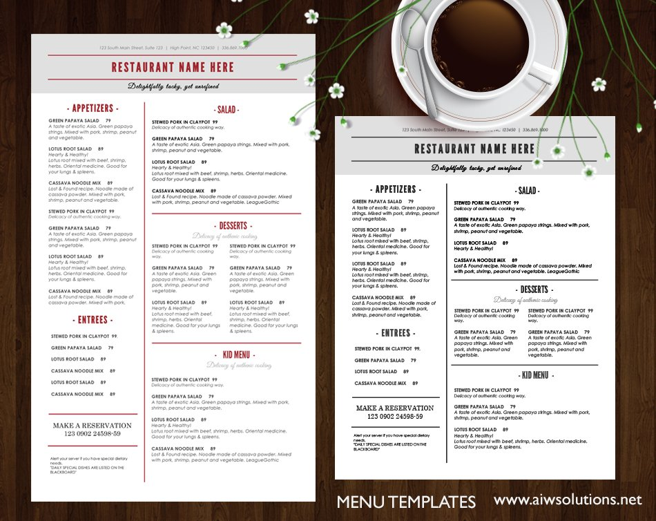 Restaurant menu brochure templates creative market for Html menu bar templates free download