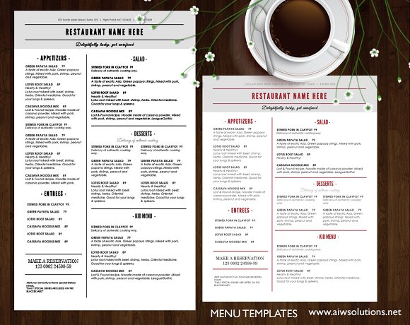 Restaurant Menu ~ Brochure Templates ~ Creative Market