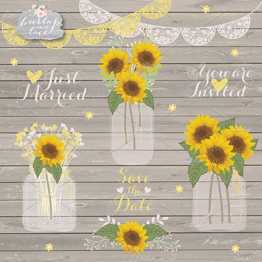 Sunflowers clipart ~ Illustrations ~ Creative Market