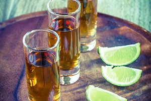 Glasses of tequila