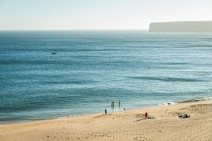 Rocks and sandy beach in Portugal, Sagres