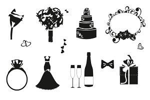 Wedding black and white icons set