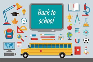Back to School - Flat Icons Set