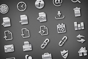 Modern Metallic Vector Icons Pack 1
