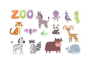 Zoo animals vector set