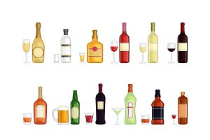 Set of alcohol drink bottles
