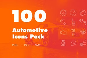 100 Automotive Icons Pack