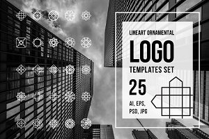 Lineart ornamental logo templates