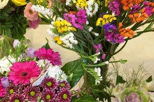 Flower bunchs in a flower shop