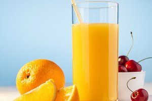 Orange juice in a glass.