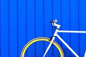 Bike and blue wall