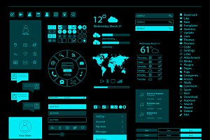 UI kit, mobile and web design vector