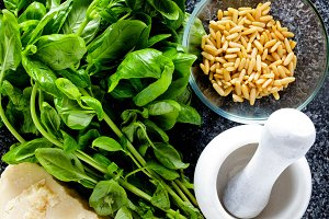 ingredients for pesto from basil