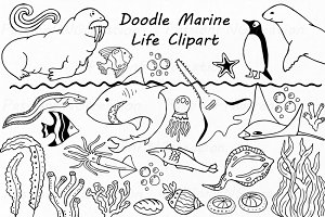 Doodle Marine Life Clipart