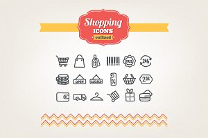 Hand drawn shopping icons
