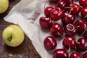 Cherries and nectarines.