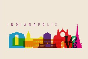 Indianapolis City Skyline Landmarks