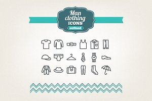 Hand drawn man clothing icons