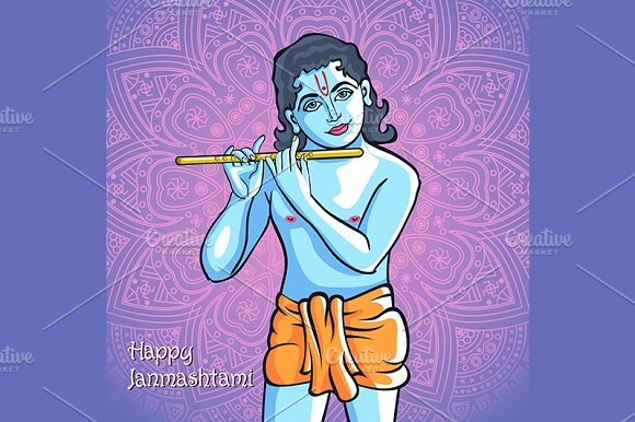 Krishna. Happy janmashtami vector